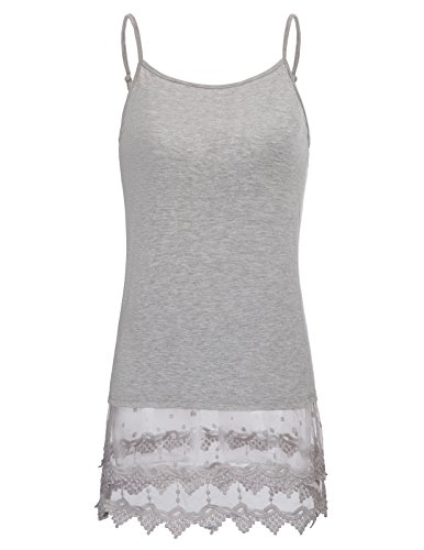 Comfortable Woman Adjustable Strap Lace Vest Top Undergarment for Sweater(XL,Gray 1058)