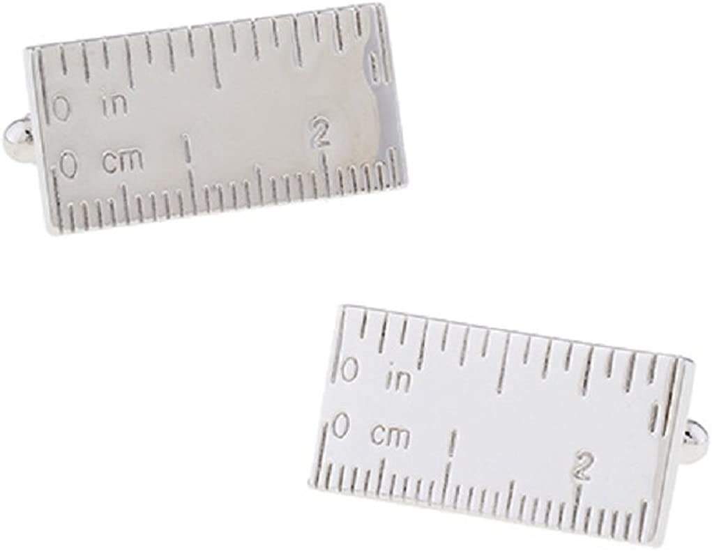 MRCUFF Ruler Architect Contractor Carpenter Pair Cufflinks in Presentation Gift Box & Polishing Cloth