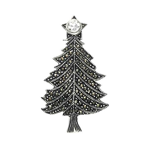 - Wild Things Sterling Silver & Marcasite Christmas Tree Pin w/Crystal Tree Topper