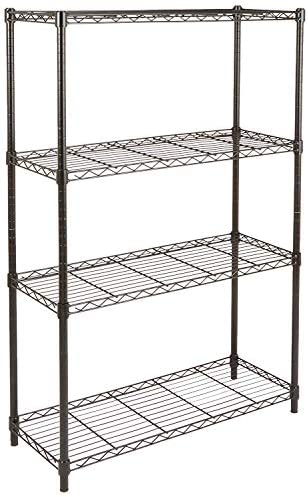 Amazon Basics 4-Shelf Adjustable, Heavy Duty Storage Shelving Unit (350 lbs loading capability in step with shelf), Steel Organizer Wire Rack, Black (36L x 14W x 54H)