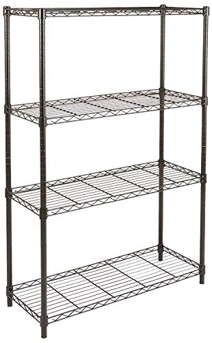 AmazonBasics 4-Shelf Shelving Storage Unit, Metal Organizer Wire Rack, Black (36L x 14W x 54H)