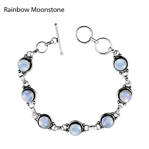 12.50Gms,4.50 Ctw Genuine Rainbow Moonstone 925 Sterling Silver Overlay Handmade Fashion...