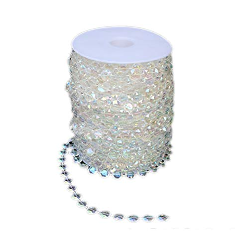 NACOLA 30M/99 Feet Per Roll Octagonal Acrylic Beads Strand Wedding Party 10mm Diamond Plastic Crystal Clear Beads String Line Chain Garland Decorations Rhinestone Christmas Hanging Curtain