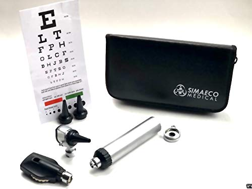 Real-Star Simaeco Otoscope, ophthalmoscope 2 in 1 stainless-steel handle  for Both Adults and Pediatric. Batteries are not Included.
