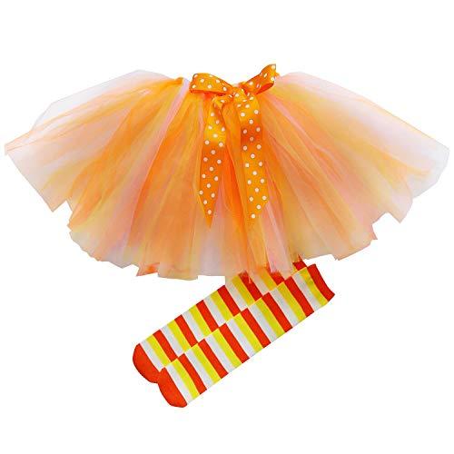 Candy Corn Tutu Costume (So Sydney Girls Kids Toddler Tulle Tutu Skirt & Top or Socks Novelty Costume Outfit (XL (6), Candy Corn Tutu &)