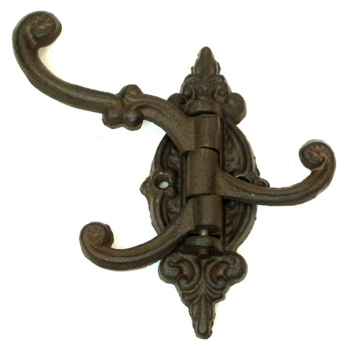 - Cast Iron Vintage Antique Victorian Swing Arm Swivel Wall Hook Hall Tree 3 Hooks
