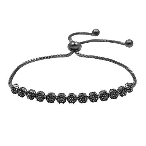 WeimanJewelry CZ Zircon Small Flower Cubic Zirconia Crystal Adjustable Bracelet for Women or Wedding(Black)