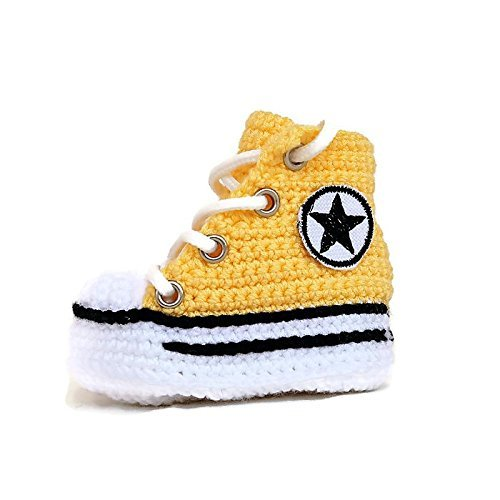 Crochet Newborn Girl Converse Booties - Newborn Knitted Baby Booties - Baby Shower Gift - High Top Sneaker Style Knitted Baby Booties - Custom Crochet Baby Converse Booties