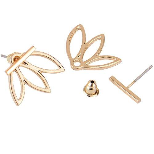 Diomatetm 2 Pairs Lotus Flower Earrings Jewelry Simple Chic