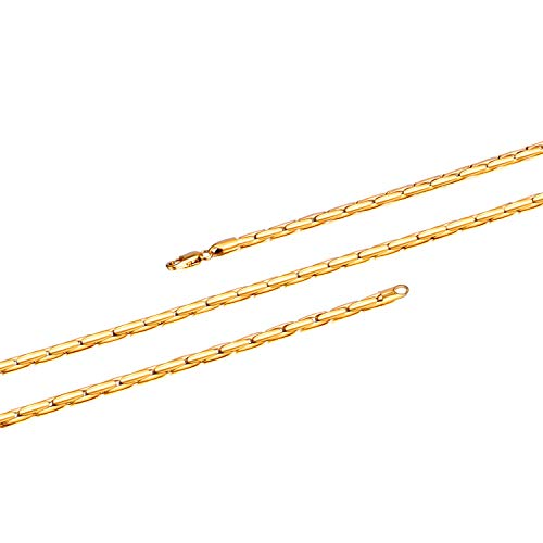 WINNICACA 24K Gold Plated Big Gold Chains for Men Italy Round Fake Gold Chain Costume Long Necklaces for Women Fashion Hip Hop Jewelry 22inch,4mm Wide Unisex ()