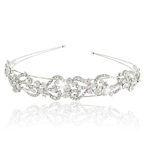 EVER FAITH® Wedding Flower Wave Headband Clear Austrian Crystal Silver-Tone
