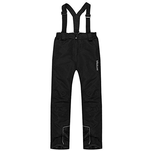 PHIBEE Girls' Waterproof Windproof Breathable Polyester Snow Ski Pants Black 12 (Racing Ski Pants)