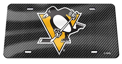 Pittsburgh Penguins Carbon Fiber Design Premium Laser Tag License Plate Hockey ()