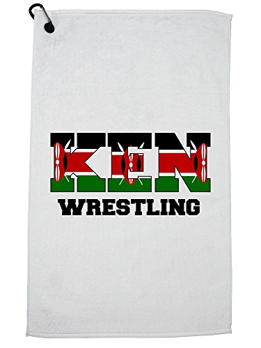 Hollywood Thread Kenya Wrestling - Olympic Games - Rio - Flag Golf Towel with Carabiner Clip by Hollywood Thread