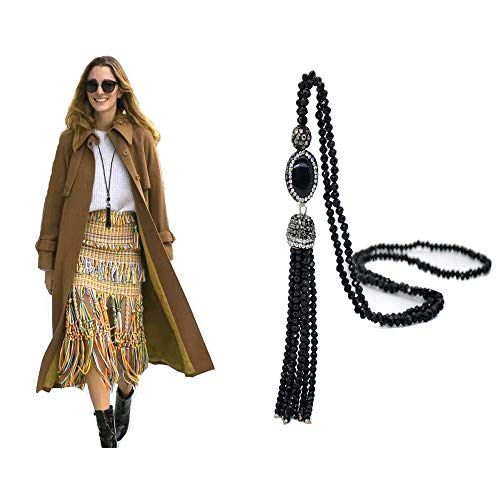 Kasima Luxurious Agate Pendant Handmade Crystal Beads Long Chian Necklace Bohemia Winter Sweater Tassel Necklace (Black)