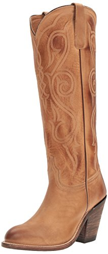 Lucchese Women's Handmade Vanessa Cowgirl Boot Round Toe Tan 8.5 M US
