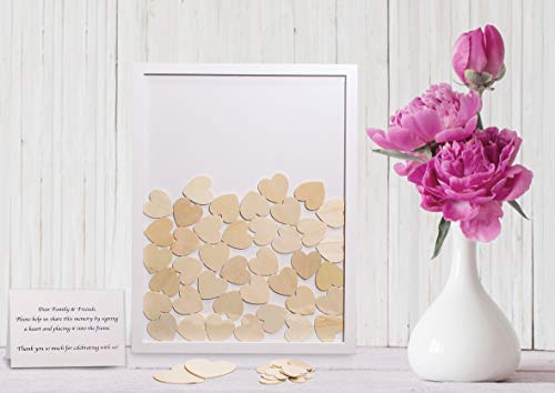 Wedding Guest Book Alternative Drop Top Wooden Frame with Hearts | Removable Back | Includes 85 Small & 2 Large Hearts