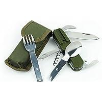 Ewin24 Green Army Multi-Funcion pliable Camping alimentaire extérieure Vaisselle Outil Couteau Fourchette Cuillère