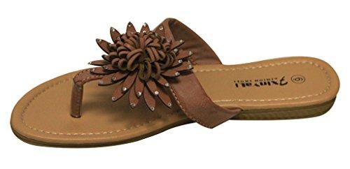 Xinyali Gx012-302 Dames Vrijetijdskleding Platte String Flip-flop Bloem Bloemen Bovenste Kunstleer Sandalen Oranje