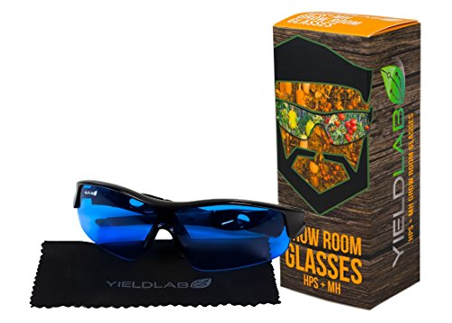 Yield Lab Grow Room Safety Glasses for HPS/MH – UVA/UVB/IR Protection – Hydroponic, Aeroponic, Horticulture Growing - Lighting Room Grow