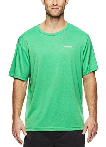 Reebok Men's Supersonic Crewneck Workout T-Shirt Designed With Performance Material - Green Heather, - Dress Hills Green Shops