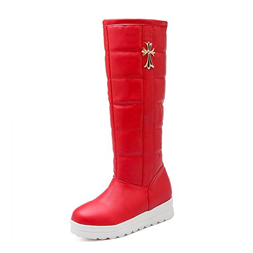 Boots Solid Women's Heels Round AgooLar High Red PU Toe top Closed Low v87xHAxq