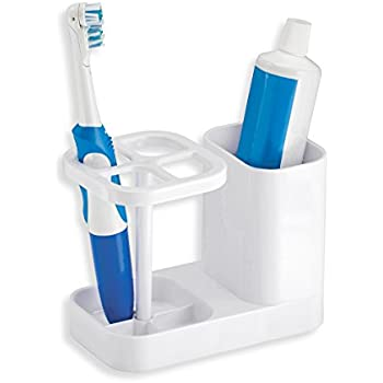 mDesign Bathroom Vanity Countertop Acrylic Toothpaste & Toothbrush Holder Stand with Cup/Dental Center, Holds Electric Toothbrushes BPA Free, White