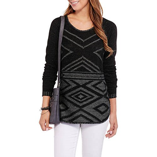 Faded Glory Women's Pointelle Pullover Sweater (L, Black Combo)