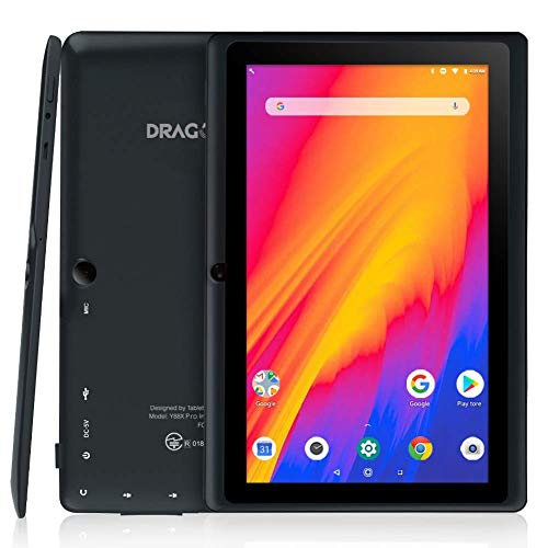 Dragon Touch Y88Y Pro Tablet 7 Pulgadas 1024x600 FHD IPS WiFi Bluetooth Tablet Android 9.0 Procesador Quad-Core RAM de 2GB 16GB de Memoria Interna Doble Cámara Negro