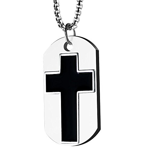 (Kingdom Come Sterling Silver Plated Men's Christian Cross Dog Tag Pendant with Box Chain Necklace)