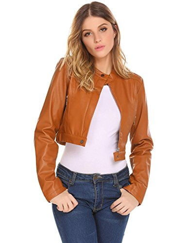 Asatr Womens Faux Leather Stand Collar Moto Biker Short Cropped Jacket, Brown (Cropped Jacket Brown)
