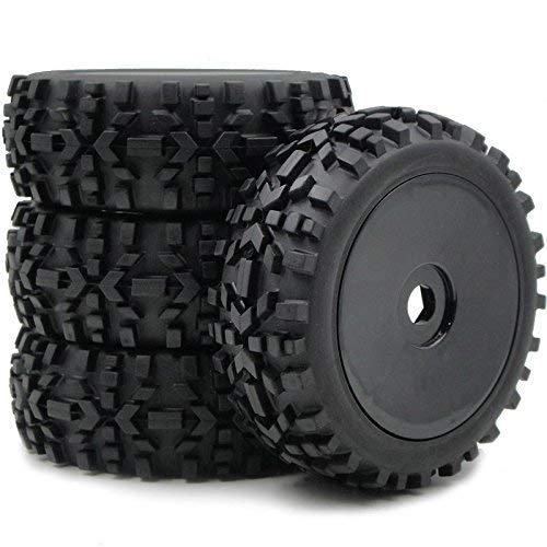hobbysoul 4pcs 1:8 RC Off Road Buggy Tires & Hex 17mm Wheels for Losi HPI XTR Badlands Car Upgrade ()