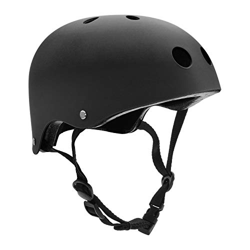 Adult Skateboard Helmet 11-Vents Adjustable Straps Protective Skiing Skate Bike Cycling Helmet Multi Color with Liner for Bicycle Skateboard Outdoor Sports Size Medium Black (Best Skateboard Helmet Reviews)