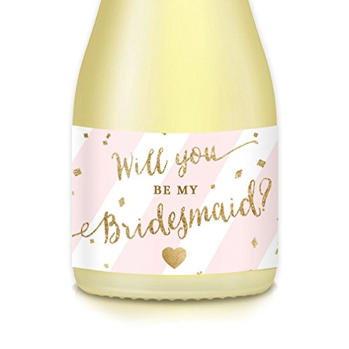 (Will You Be My Bridesmaid? MINI CHAMPAGNE BOTTLE LABELS Bridal Bachelorette Party Proposal Maid Matron of Honor Mini Wine Bottle Stickers, Wedding Attendants Gift Box, Bags, Favors 3.5