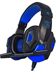 Headphones With Microphone,Gaming Headset 3.5mm Portable Foldable AUX Earphones LED Lights Are Designed To Be Colorful On The Ear Cups, For MP4 Phones PC Computer Music ,blue , Red (Color : Blue)