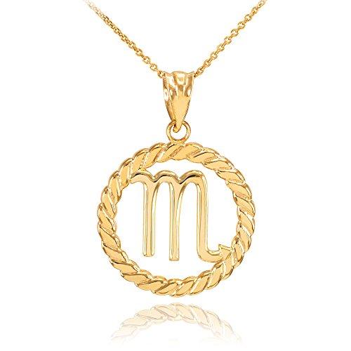 Collier Femme Pendentif 14 Ct Or Jaune Scorpion Zodiaque Signe À Cercle Corde (Livré avec une 45cm Chaîne)