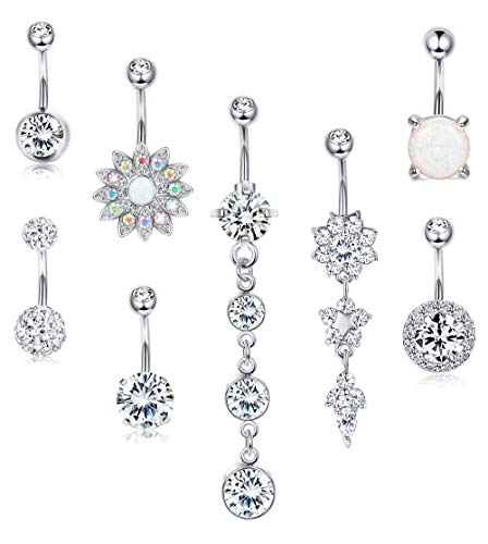 LOYALLOOK 8pcs 14G Surgical Steel Belly Button Rings Dangle for Women Girls Navel Rings Opal Flower CZ Body Piercing Silver Tone