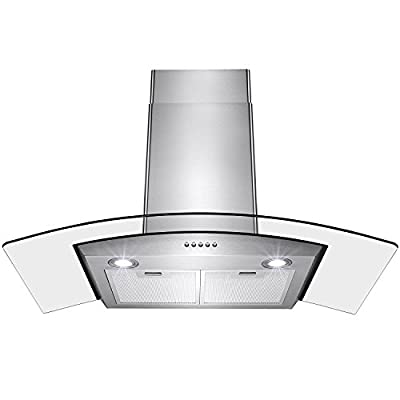 """Kosmo Supply 30"""" Stainless Steel Push Control Wall Mount Kitchen Cooking Range Hood Vent Fan"""