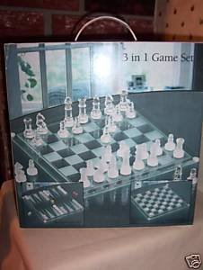 3 in 1 Glass Game Set, Chess/Checkers/Backgammon by Chess...