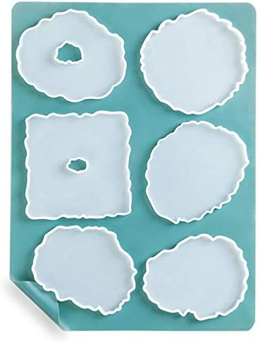 Candle Holder,Soap Dish Booshow 6Pcs Agate Coaster Silicone Epoxy Molds with A3 Extra Large Silicone Sheet for DIY Crafts Geode Coaster Molds for Resin Casting 15.7 x 11.8 inches