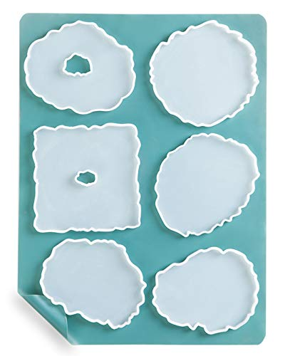 Geode Coaster Molds for Resin Casting, Booshow 6Pcs Agate Coaster Silicone Epoxy Molds with A3 Extra Large Silicone Sheet for DIY Crafts(15.7 x 11.8 inches) Candle Holder,Soap Dish
