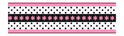 andice Olson Kids CK7719B Daisy Ribbon Border, Pink/Black (Galore Pink Ribbon)