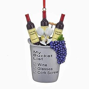 "Best Epic Trends 41SSJY1ZKDL._SS300_ Kurt Adler Wine ""My Bucket List"" Christmas Ornament"