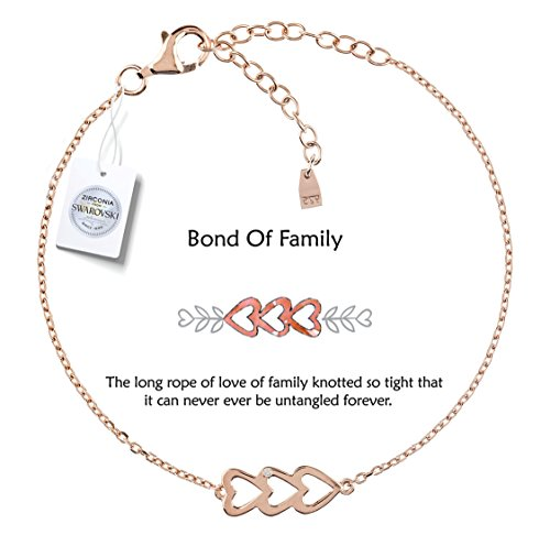 Vivid&Keith Womens Girls 925 Real Sterling Silver 18K Plated Swarovski Zirconia Cute Adjustable Gift Fashion Jewelry Link Chain Charm Pendant Bangle Bracelet, Triple Heart, Rose Gold - Bracelet Gold Charm Triple Chain