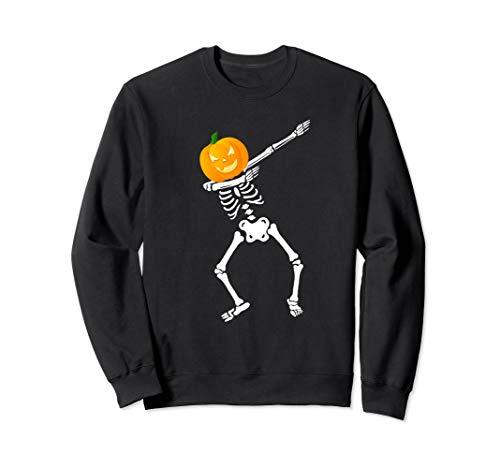 - Dabbing Skeleton Sweatshirt Halloween Kid Pumpkin Head Face