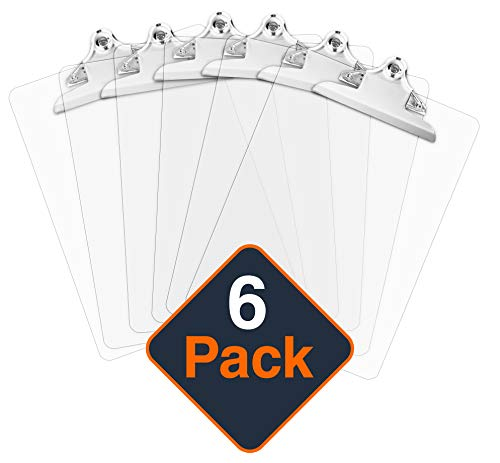 Plastic Clipboards (Set of 6) Multi Pack Clipboard (Transparent)| Strong 12.5 x 9 Inch | Holds 100 Sheets! Acrylic Clipboards Big Clip Board - Clear Office Clipboard