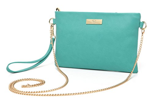 Aitbags Soft PU Leather Wristlet Clutch Crossbody Bag with Chain Strap Cell Phone Purse Green