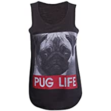 Forever Womens Sleeveless Pug Life & Dope Mickey Stretchy Vest Top
