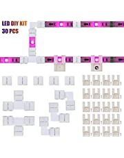 LED Strip Connectors and Mounting Clips Full Kit, 4 Pin 10mm Gapless Solderless Extension for SMD 5050 5V-12V-24V LED Light Strip Connector Accessories