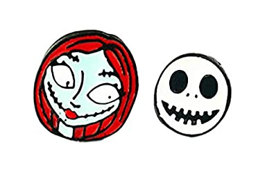 jack skellington and sally nightmare before christmas stud earrings with gift box from outlander gear - Jack In The Box Open On Christmas